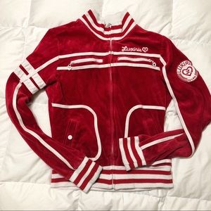e27cf762ab1 Jackets   Blazers - LRG Luxurie red velour zip up sweater